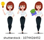 business woman in office style... | Shutterstock .eps vector #1074426452