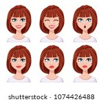 face expressions of woman with... | Shutterstock .eps vector #1074426488