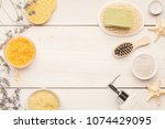 beauty spa background  top view.... | Shutterstock . vector #1074429095