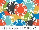 different colorful casino chips.... | Shutterstock .eps vector #1074433772
