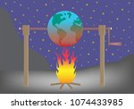 planet earth roasting over fire.... | Shutterstock .eps vector #1074433985