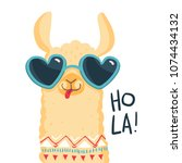 cute lama character. print for... | Shutterstock .eps vector #1074434132