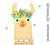 cute lama character. print for... | Shutterstock .eps vector #1074434138