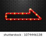 frame light sign arrow retro on ... | Shutterstock .eps vector #1074446138