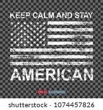 grunge american flag on... | Shutterstock .eps vector #1074457826
