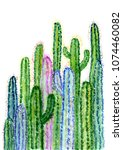hand drawn watercolor cactus ... | Shutterstock . vector #1074460082