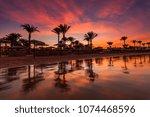 beautiful romantic sunset over...   Shutterstock . vector #1074468596