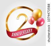 template gold logo 2 years... | Shutterstock . vector #1074473588