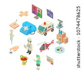 medicine icons set. isometric... | Shutterstock .eps vector #1074478625