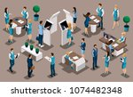 isometric a set of bank... | Shutterstock .eps vector #1074482348