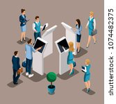 isometric turn of customers... | Shutterstock .eps vector #1074482375