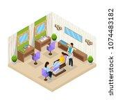 isometric woman in beauty salon ... | Shutterstock .eps vector #1074483182