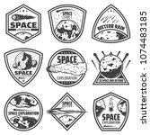vintage monochrome comets... | Shutterstock .eps vector #1074483185