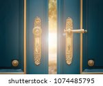 antique ornate gold door handle | Shutterstock . vector #1074485795