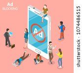 ad blocking flat isometric... | Shutterstock .eps vector #1074486515