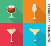 set of alcoholic drinks in flat ... | Shutterstock .eps vector #1074488516
