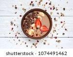 cocoa banana protein smoothie... | Shutterstock . vector #1074491462
