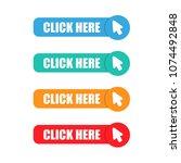 button click here vector flat... | Shutterstock .eps vector #1074492848