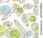 seamless pattern of loofan ... | Shutterstock .eps vector #1074493802