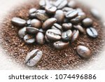 coffee background with white... | Shutterstock . vector #1074496886