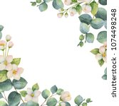 watercolor green floral card... | Shutterstock . vector #1074498248