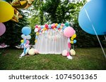 decoration with balloons for a... | Shutterstock . vector #1074501365