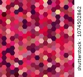 background made of red hexagons.... | Shutterstock .eps vector #1074502862