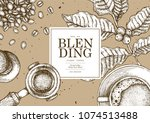vintage coffee illustration for ... | Shutterstock .eps vector #1074513488