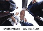 bottom view.business handshake | Shutterstock . vector #1074514685