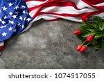 american flag for memorial day  ... | Shutterstock . vector #1074517055