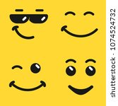 smiling face emoji  yellow... | Shutterstock .eps vector #1074524732