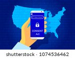 consent act. customer online... | Shutterstock .eps vector #1074536462