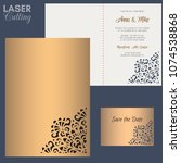 paper greeting card with lace... | Shutterstock .eps vector #1074538868