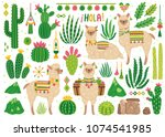 vector set of cute llamas and... | Shutterstock .eps vector #1074541985