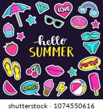 set of cute summer fashion... | Shutterstock .eps vector #1074550616