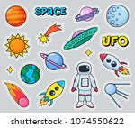 cute patches set with space... | Shutterstock .eps vector #1074550622