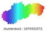 spectrum hexagonal slovakia map.... | Shutterstock .eps vector #1074552572