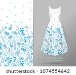 hand drawn floral pattern on... | Shutterstock .eps vector #1074554642