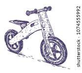 balance bike hand drawn | Shutterstock .eps vector #1074555992
