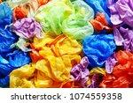 olorful disposable rubbish... | Shutterstock . vector #1074559358