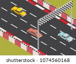 isometric low poly race track... | Shutterstock .eps vector #1074560168