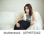 pregnant young woman. beautiful ...   Shutterstock . vector #1074572162