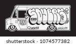graffiti on the truck....   Shutterstock .eps vector #1074577382