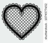 black lace mesh heart. feminine ... | Shutterstock . vector #1074577652