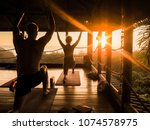 tropical open yoga studio place ... | Shutterstock . vector #1074578975