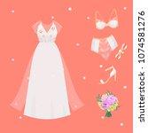 wedding bride dress accessory...   Shutterstock .eps vector #1074581276