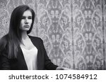 beautiful girl with tears in...   Shutterstock . vector #1074584912