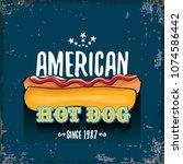 vector cartoon american hotdog... | Shutterstock .eps vector #1074586442
