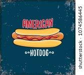 vector cartoon american hotdog... | Shutterstock .eps vector #1074586445