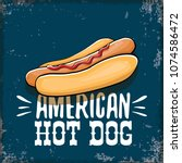 vector cartoon american hotdog... | Shutterstock .eps vector #1074586472
